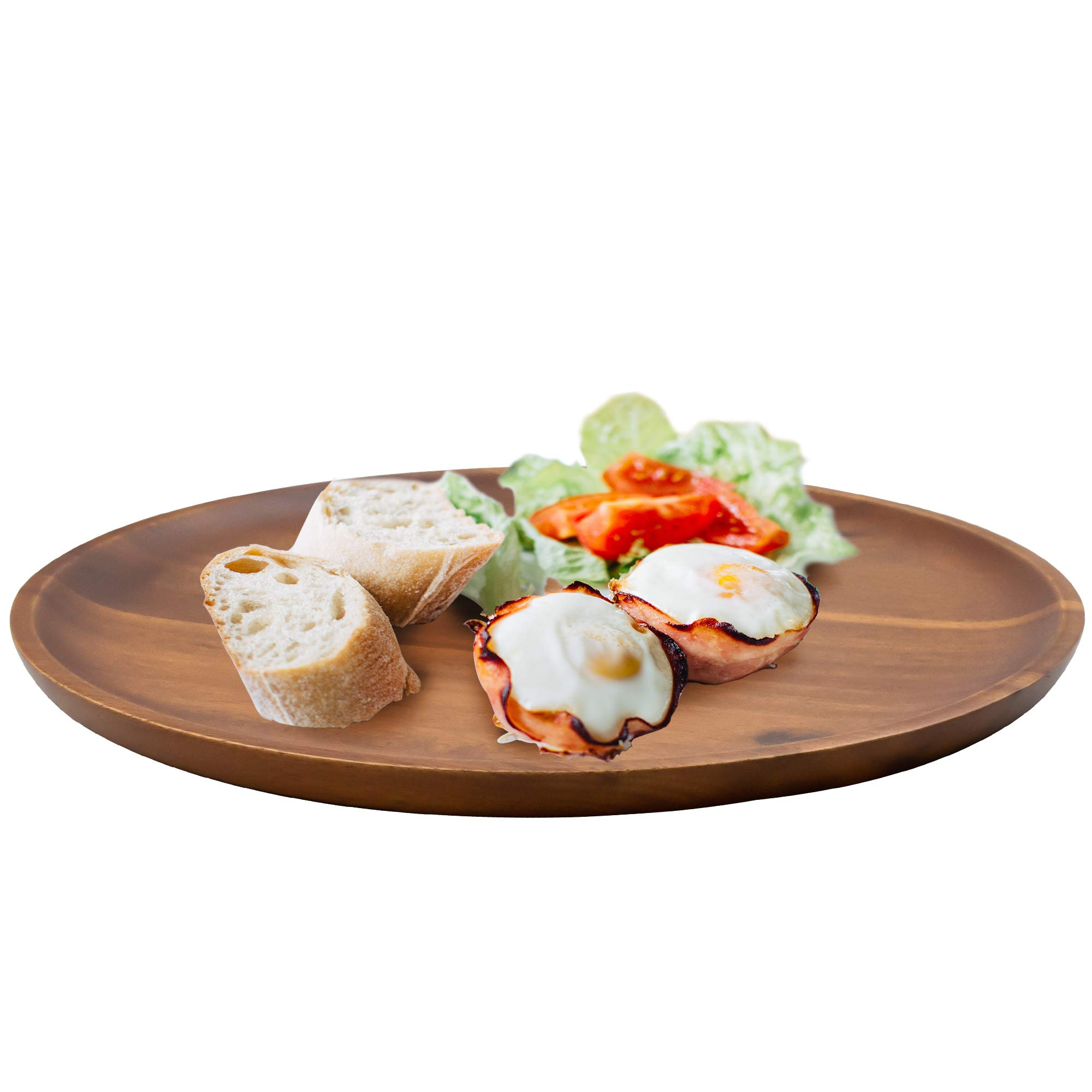 AIDEA Acacia Wood Food Serving Charger Plates - 11 inch Set of 4 Round Wooden Dishes Snack Plates by AIDEA (Image #3)