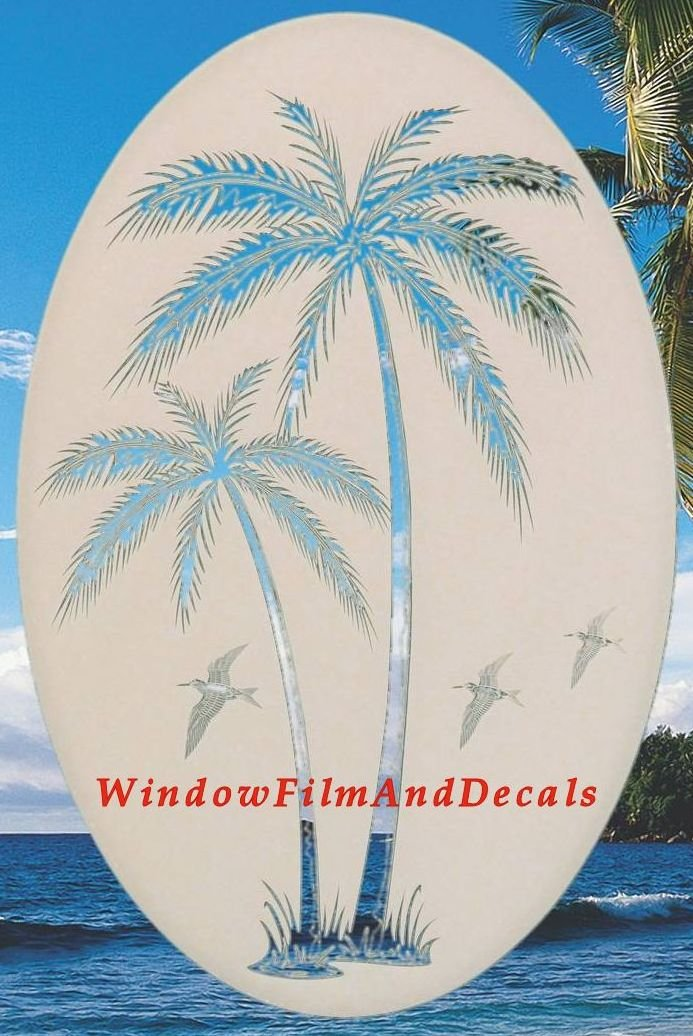 Leaning Palm Trees Oval Etched Window Decal Vinyl Glass Cling - 26'' x 41'' - White with Clear Design Elements