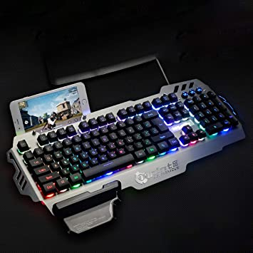 Ballylelly PK900 Membrana Gaming Keyboard, PK900 de Membrana Gaming Aluminio del Teclado de Panel de aleación de 104 Teclas Teclado retroiluminado: ...