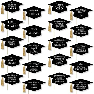 product image for Hilarious Graduation Caps - Gold - Graduation Photo Booth Prop Kit - 20 Count