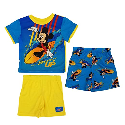 e537583fc5 Amazon.com: Mickey Mouse Toddler Boys 3pc Surf's Up T-Shirt & Shorts ...