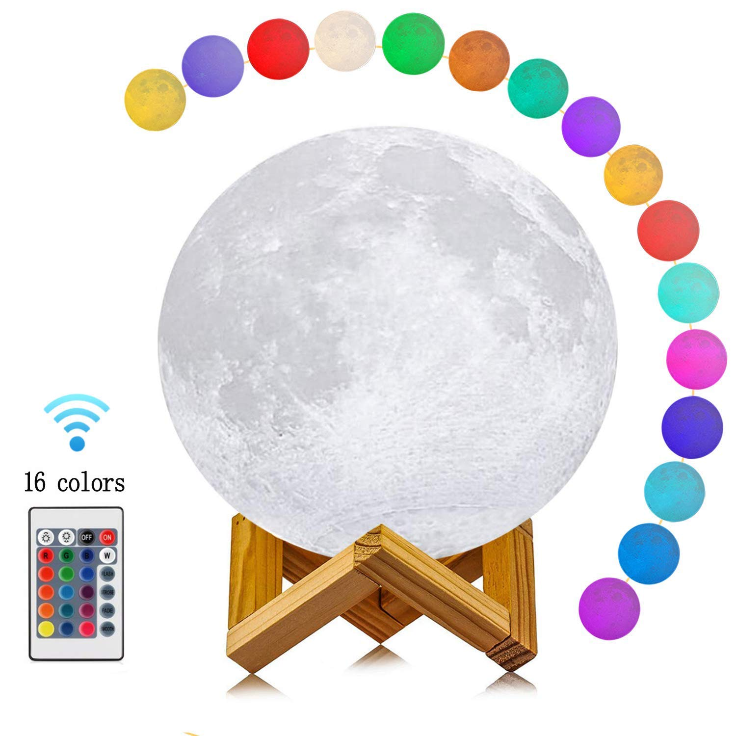 Moon Lamp 16 Colors 3D Printing, Yooker Remote Control & Touch Sensor Night Light LED Lunar Lamp with Stand, Remote & USB Cable(7inch) for Kids/Birthday/Anniversary/Christmas Gifts
