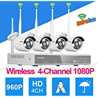 FLOUREON Wireless Kit Videosorveglianza (4CH 1080P NVR HDMI DVR + 4x 960P 1.3MP Telecamera Esterno), Backup USB, P2P, IR-CUT, Visione Notturna, Allarme Email