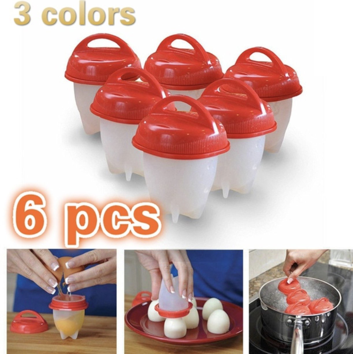 Silicone Egg Cooker, Hard and Soft without Shell Egg Boil, As Seen on TV, BPA free, 6 pack with Egg Separator