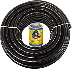 HYDROMAXX 50 Feet x 3/4 Inch Black Flexible PVC Pipe, Hose and Tubing for Koi Ponds, Irrigation and Water Gardens. Includes Free 4oz Can of Hot Blue PVC Gorilla Glue!