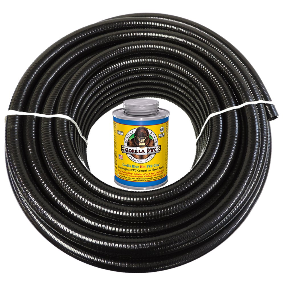HydroMaxx 2'' x 50 feet Black Flexible PVC Pipe, Hose and Tubing for Koi Ponds, Irrigation and Water Gardens. Includes Free 4oz can of Hot Blue Gorilla PVC Glue!