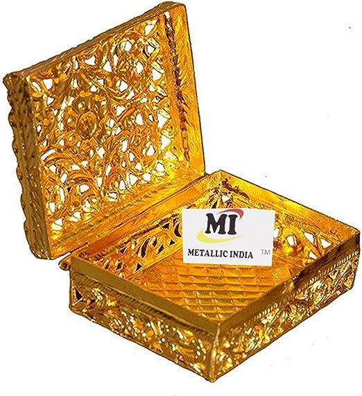 Metallic India Caja metálica de latón Puro Muradabad Salami Dabbi Chapado en Oro Hecho de 100% latón Puro, Pulido Brillante, Elegante: Amazon.es: Hogar