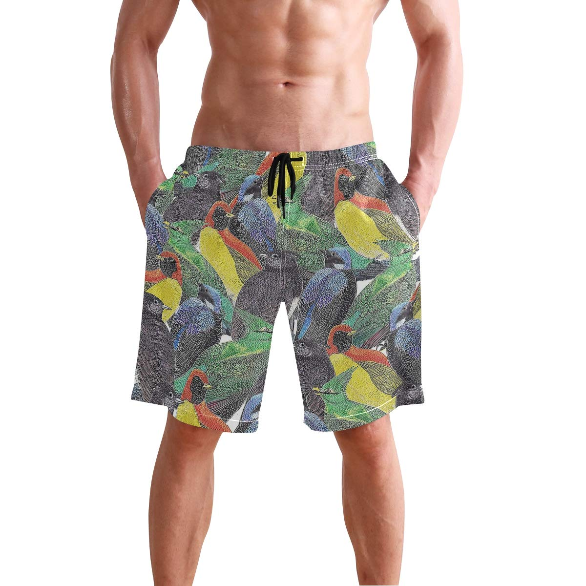 Birds Mens Quick Dry Swim Trunks Swimming Shorts with Mesh Liner