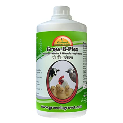 Growel Grow B- Plex - Vitamins & Minerals Supplements for  Birds,Goat,Pigs,Horse,Poultry & Other Farm Animals (1000 ml )