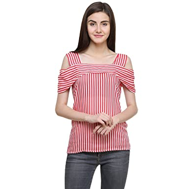 72a0c9bcc06ff Girls Shopping Women Polyester Off Shoulder Red & White Striped Top- (Size-  Small