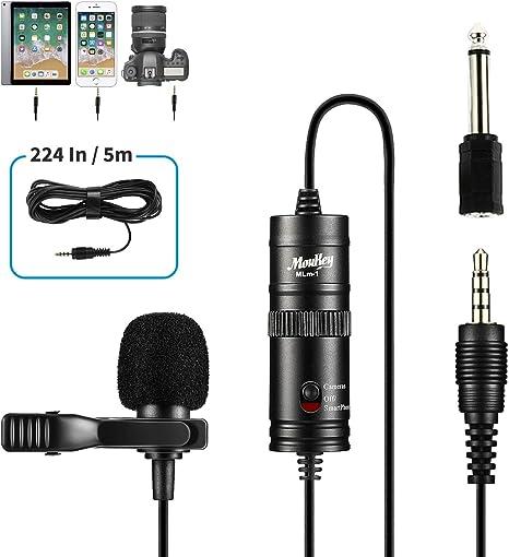 Moukey MLm-1 Lavalier Micrófono de Condensador con Parabrisas ...