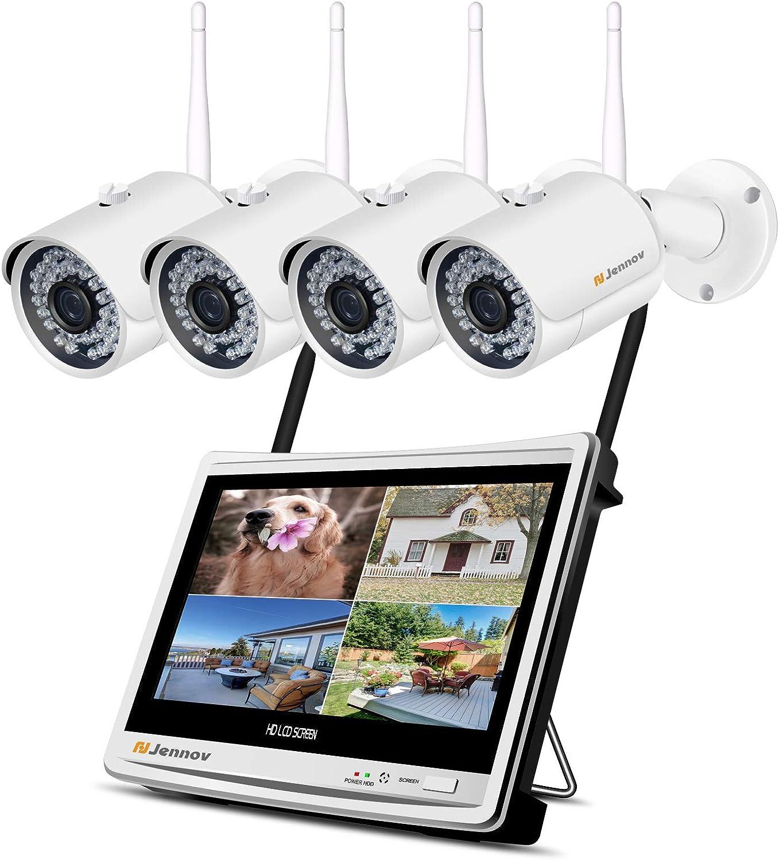 Jennov 9CH Überwachungskamera Set 9P HD NVR Wireless Überwachungssystem  mit 9 x Sicherheitskamera 9 Zoll LCD Monitor Bewegungsmelder 9TB