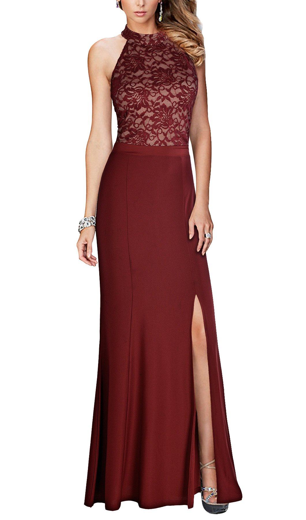 REPHYLLIS Women's Halter Floral Lace Vintage Wedding Maxi Long Dress(XL,Burgundy)