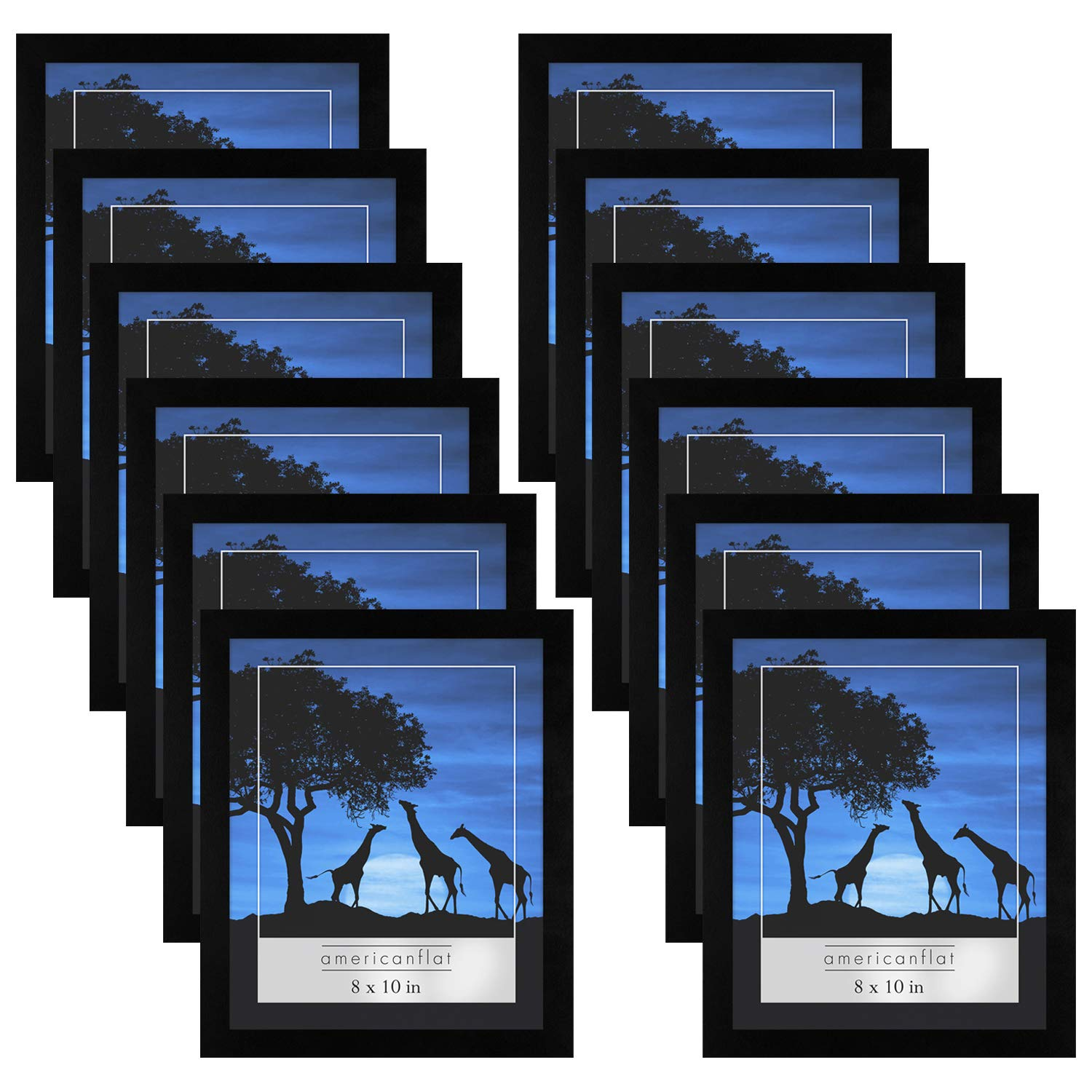 Americanflat 12 Pack - 8x10 Picture Frames - Display Pictures 8x10 Inches - Easel Backs - Built-in Hangers - Plexiglass Fronts by Americanflat