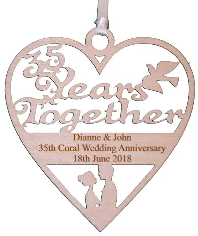 Personalised Wood Engraved 35 Years Coral Wedding Anniversary