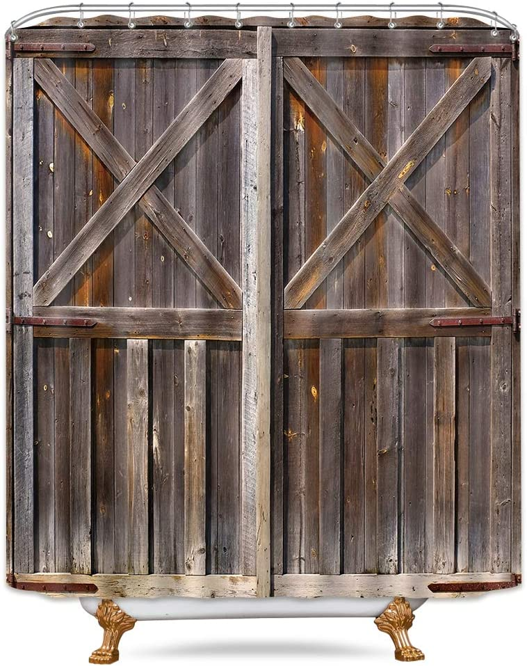 Riyidecor Wooden Barn Door Shower Curtain 72X84 Inch Farmhouse Western Country Rustic Brown Vintage Gate Fabric Polyester Waterproof Bathroom Home Decor Set 12 Pack Plastic Hooks