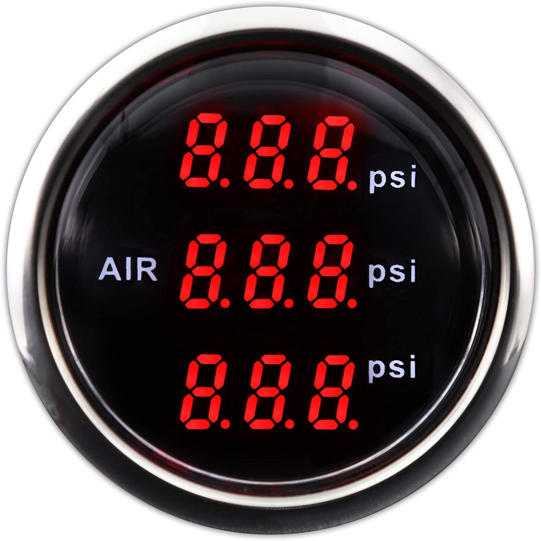 "Electronic Suspension Air Pressure Gauge 2"" Triple Digital Display 220 PSI Includes sensors kits In On Dash"