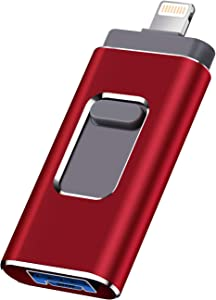 iOS Flash Drive for iPhone Photo Stick 512GB SZHUAYI Memory Stick USB 3.0 Flash Drive Thumb Drive for iPhone iPad Android and Computers(red)