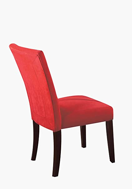 Charming ACME Baldwin Red Microfiber Side Chair Set Of 2
