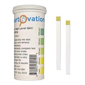 Very High Level Quaternary Ammonium (QAC, Multi Quat) Sanitizer Test Strips, 0-10,000 ppm [Vial of 50 Strips]