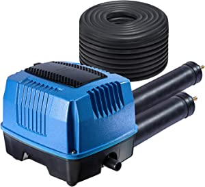 """HQUA SWA20 1/8HP Pond Water Garden Septic Aerator Kit, Aeration System, MAX 5 CFM for Pond Up to 1/2 Acre, 6"""" deep, over 1 million gallons, 105W, 110V Compressor + 70' Weighted Tubing + 2 Diffusers"""