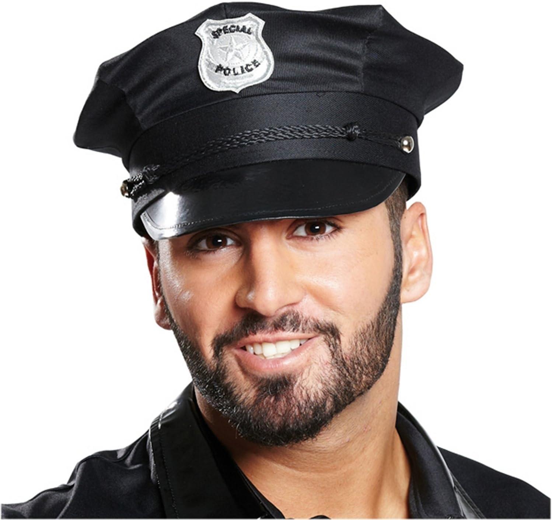 Gorra de Policía, schwrz, tamaño de la cabeza: 59: Amazon.es: Juguetes y juegos