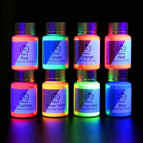 8 X Poudre Uv Fluorescente Poudre Luminescentes Pour La Fabrication Du Pigment Fluorescent Peinture Fluorescente Pour Lumière Noire Peinture