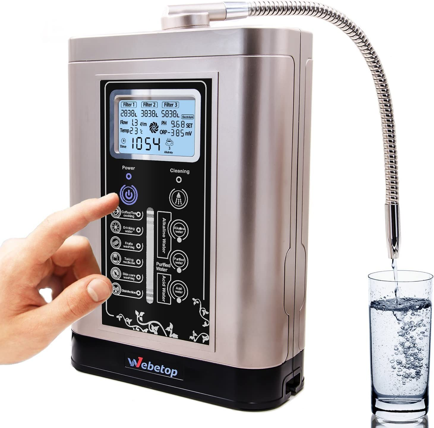 AquaGreen Alkaline Water Ionizer Machine AG7.0 Silver,Water Filtration System for Home,Produces PH 3.5-10.5 Acid Alkaline Water,Up to 500mV ORP,6000 Liters Per Filter,7 Water Settings,Auto-Cleaning