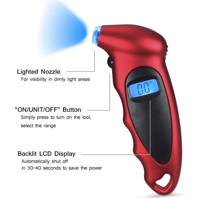 Moligh doll Pression des Pneus Numerique Jauge 150 Psi 4 Reglages pour Velo de Camion de Voiture avec Ecran LCD Retro-Eclaire et Prise Anti-Derapante