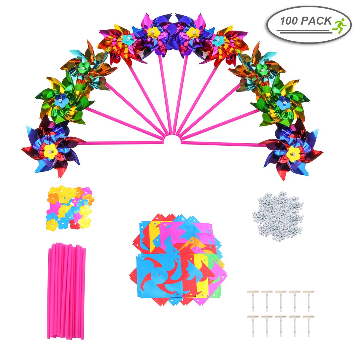 100pcs Pinwheels, Mini Wind Spinner for Kids - Small Party Pinwheels Windmill 6.3 x 11inch She-Lin