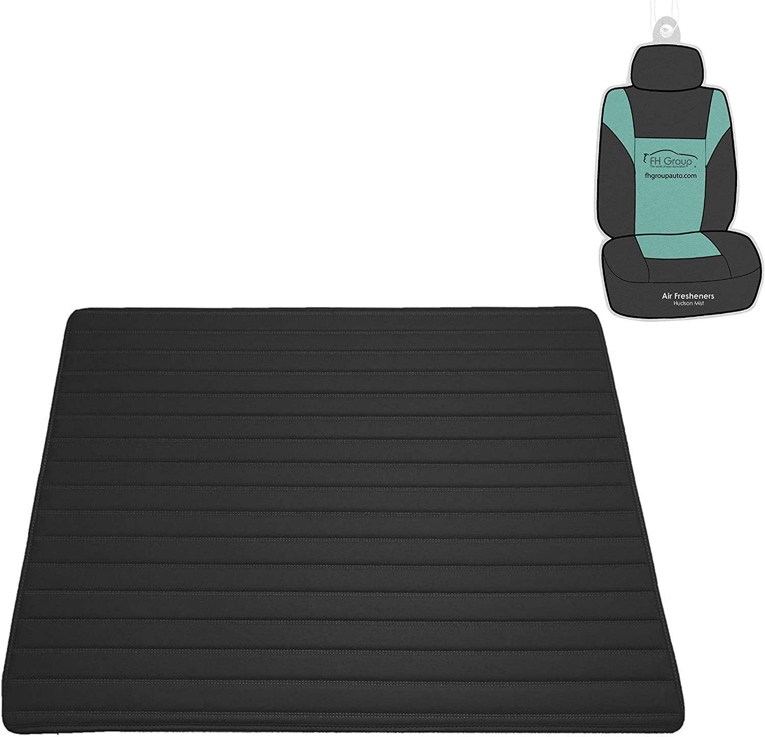 """FH Group F16500 Deluxe Heavy-Duty Faux Leather Multi-Purpose Cargo Liner, Striped, 32"""", Black Color - Universal Fit for Trucks, SUVs, and Vans"""