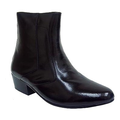 Amazon.com | D'Italo 5632 Mens Black Leather Side Zip Cuban Heel ...