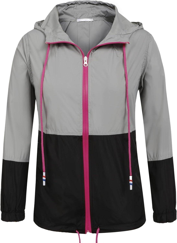 UNibelle Womens Raincoat Waterproof Hooded Rain Jacket Lightweight Active Outdoor Windbreaker Rain Coat