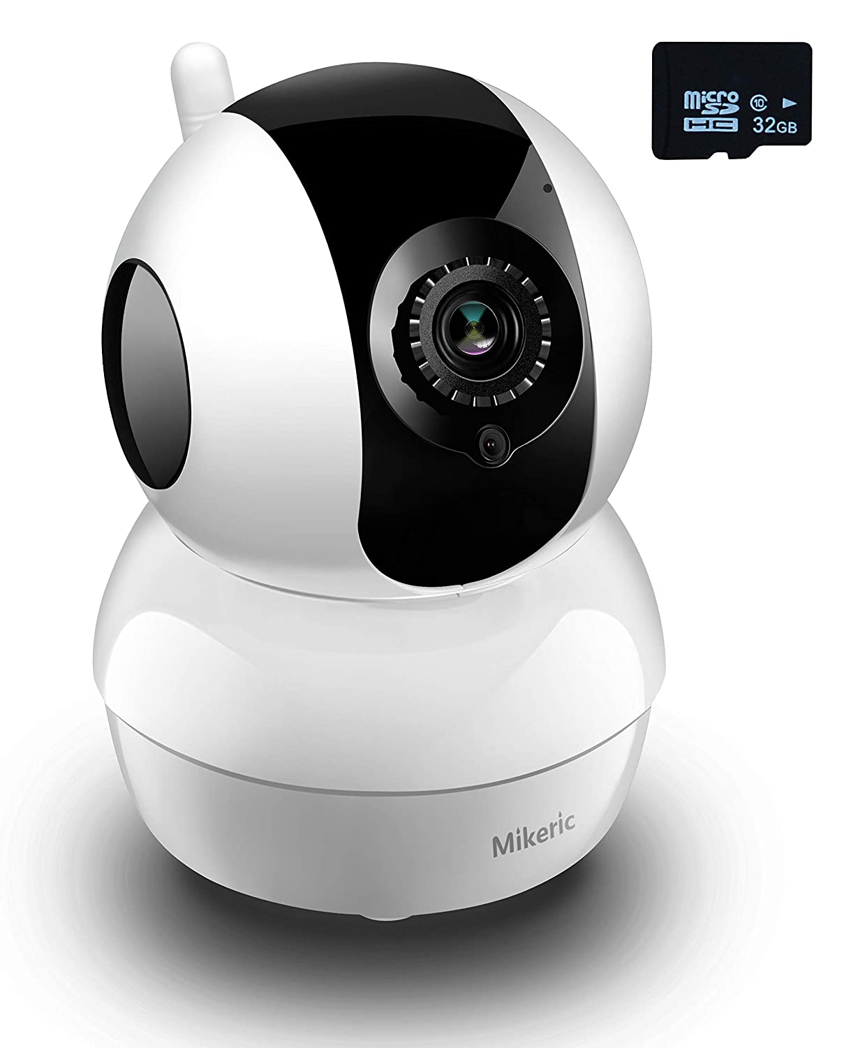 Mikeric IP WiFi Security Camera 1080P, Includes 32GB Micro SD-Camera with Motion Detection Night Vision 2-Way Audio for Home Office Baby Nanny Pet Monitor,Work with iOS Android Windows