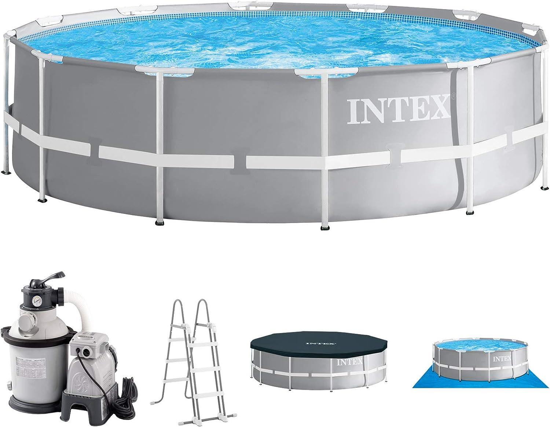 Intex Piscina 366 x 91 con filtro de arena, seguridad Escalera, Cubierta para piscina, unterlege Plane y set de conexión para piscina Frame metal acero pared: Amazon.es: Jardín