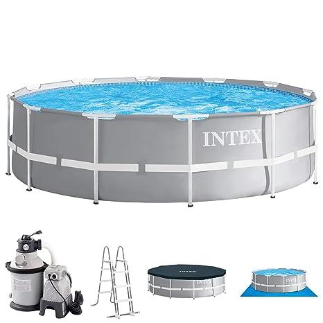 Intex Piscina 366 x 91 con filtro de arena, seguridad Escalera, Cubierta para piscina