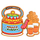 India Souvenir Wooden Fridge Magnet-Indian Chai Fridge Magnet (Multicolour)