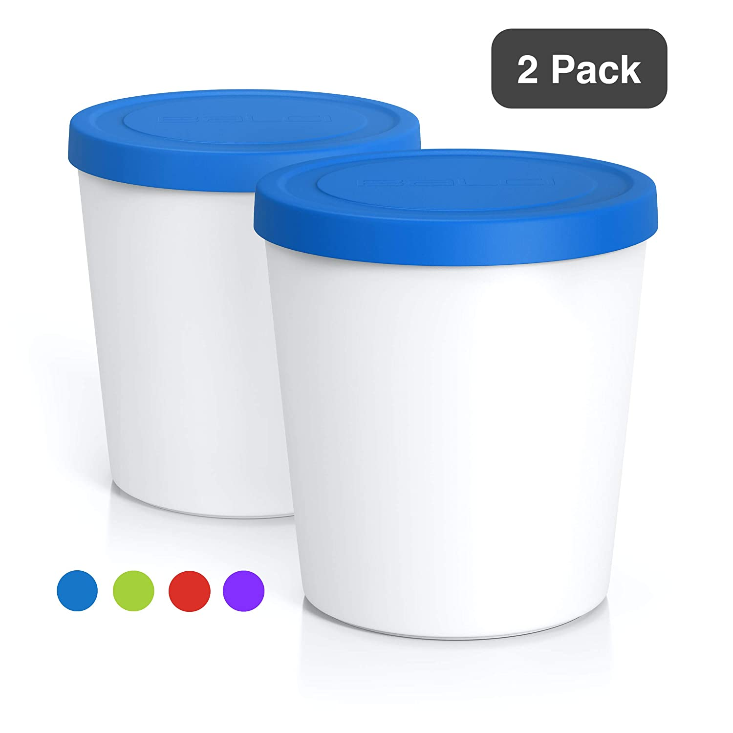BALCI - Premium Ice Cream Containers (2 PACK - 1 Quart Each) Perfect Freezer Storage Tubs with Lids for Ice Cream, Sorbet and Gelato! (BLUE)