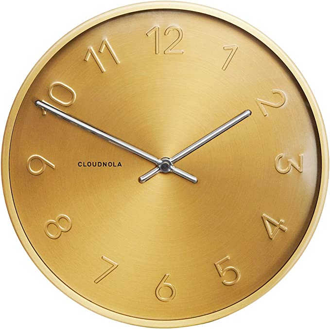Amazon Com Cloudnola Trusty Metal Wall Clock Gold 12 Inch Diameter Silent Non Ticking Battery Operated Quartz Mechanism Kitchen Dining