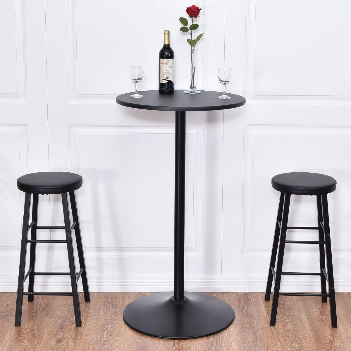 By Choice Products 3 pcs Round Bar Table Set w/ 2 Stools Bistro Pub