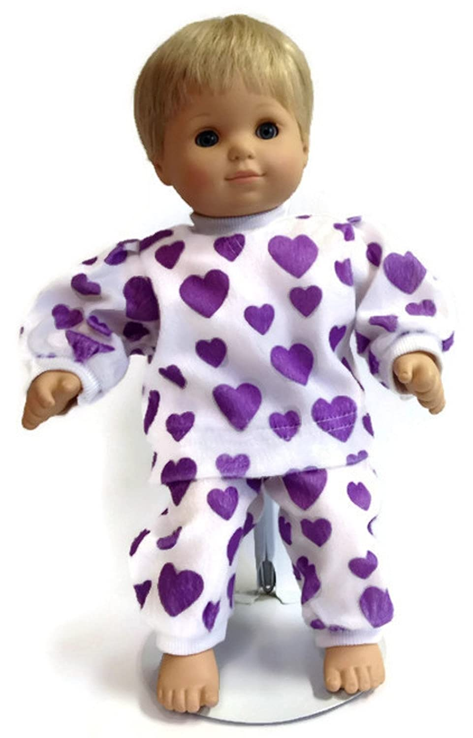 Purple Heart Print 2 pc Pajamas fits 15 inch Bitty Baby /& Twin Doll Clothes