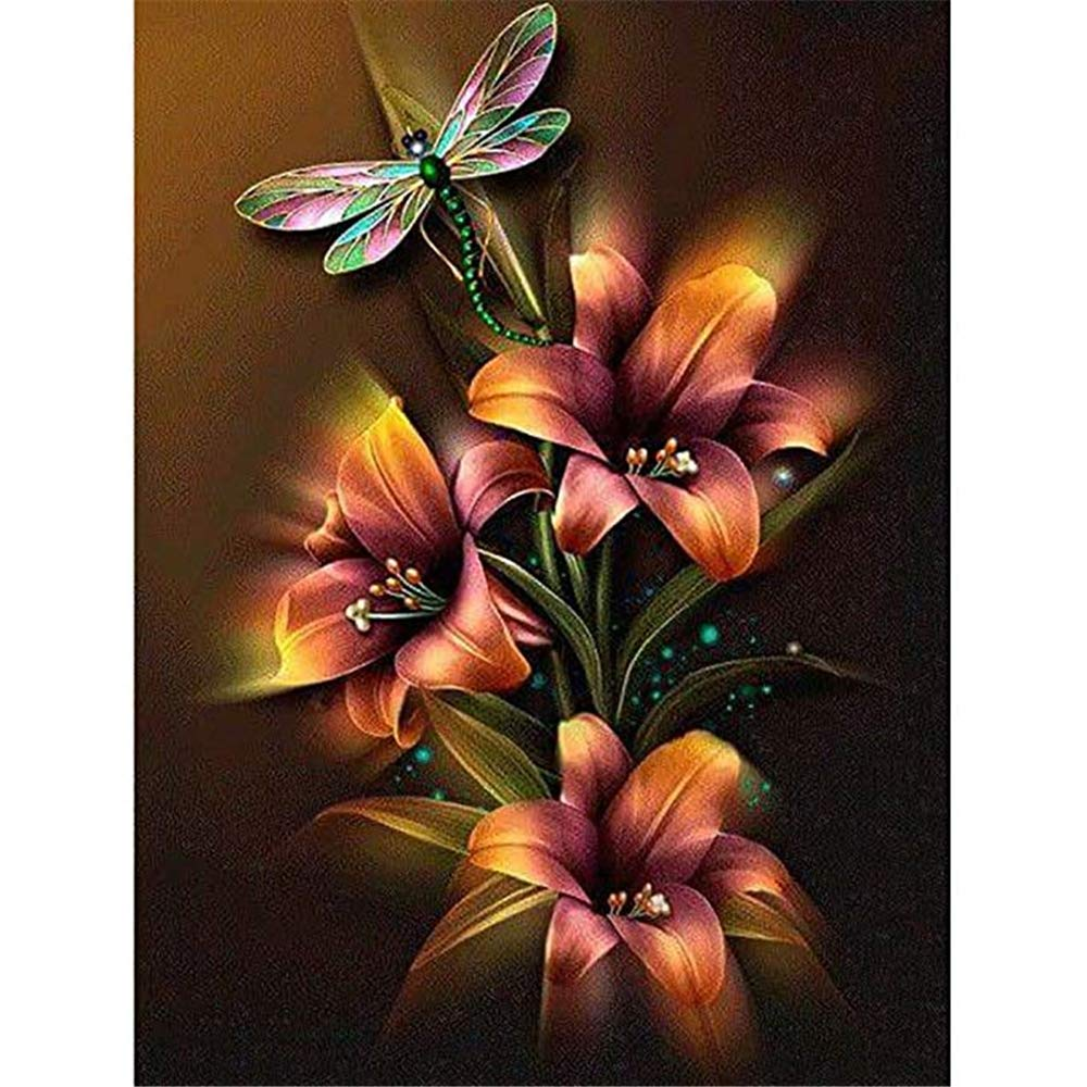 Flower 25X30CM Diamond art Embroidery Cross Stitch Pictures Arts Craft Home Wall Decor Gift Kissme8 DIY 5D Diamond Painting Kits By Number Full Drill