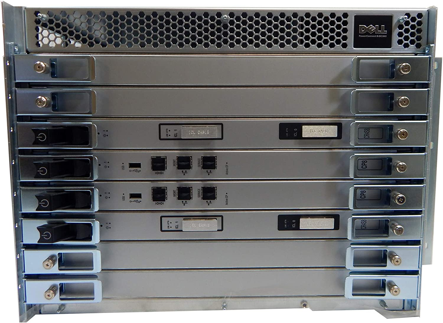 Dell PowerConnect B-DCX 4S Network Switch H86VX 2X-CP8 2x-CR4S8 2X-AC Pwr