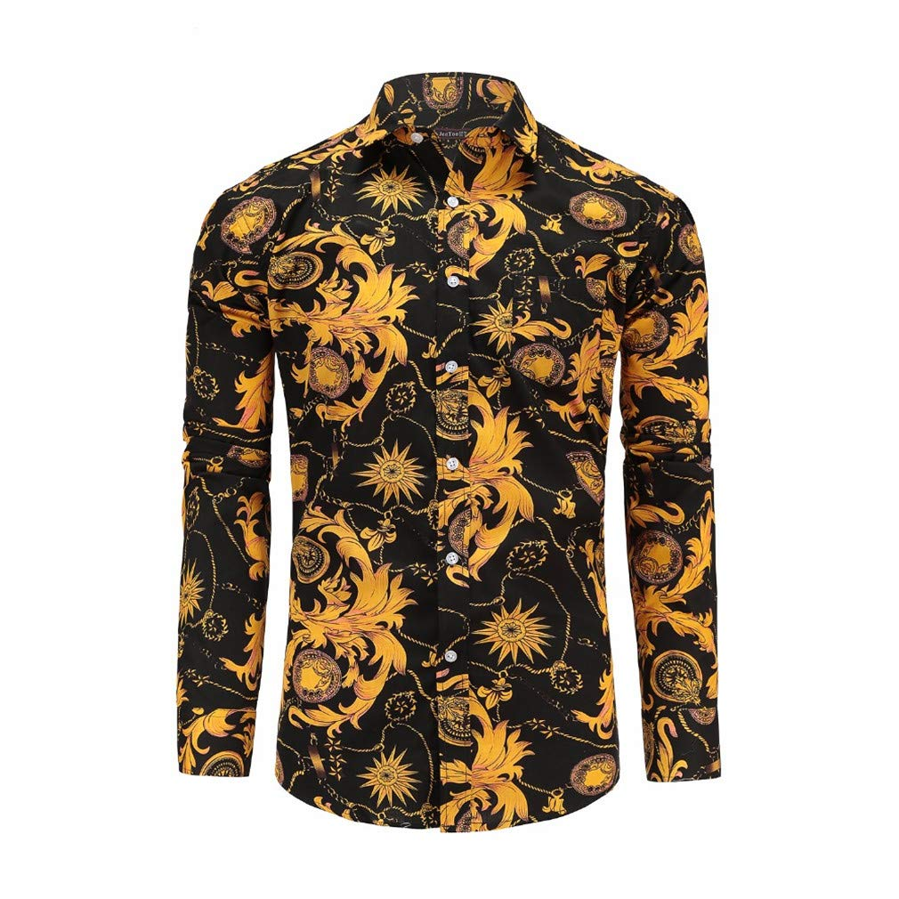 Mens Shirts Long Sleeve Print Floral Shirt Men Slim Fit Shirts Mens Casual Hawaiian Shirt