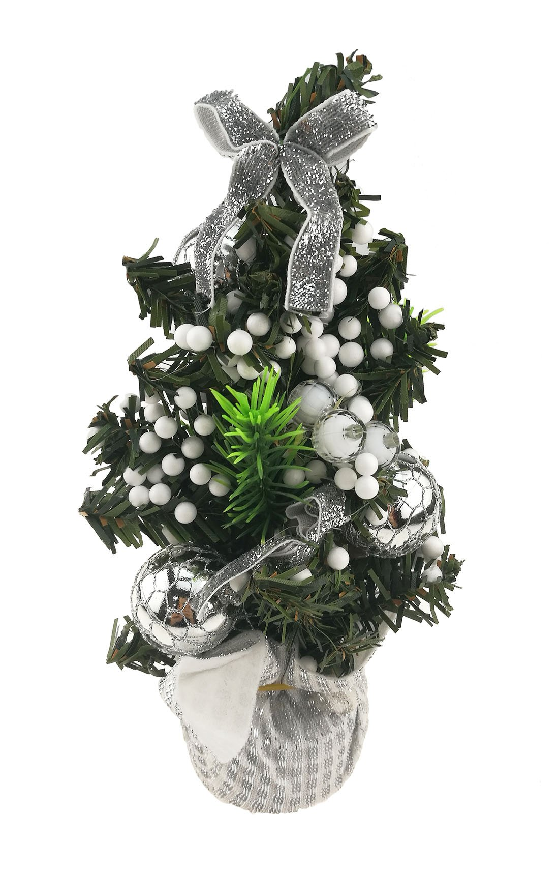 Mini Christmas Tree For Home Desktop Ornament Christmas Gift Decoration (Silvery)