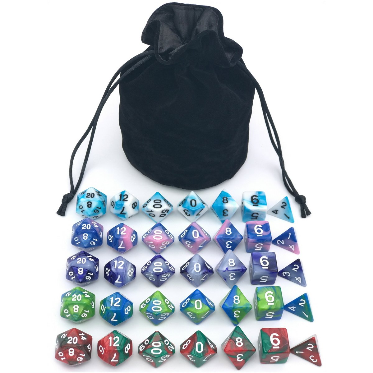 Dice Set for Dungeons&Dragons, DND, RPG Games, Polyhedral Dice Set, Assorted Dice Set, 35 Total, 5 Sets with Drawstring dice Pouch by IvyFieldDice