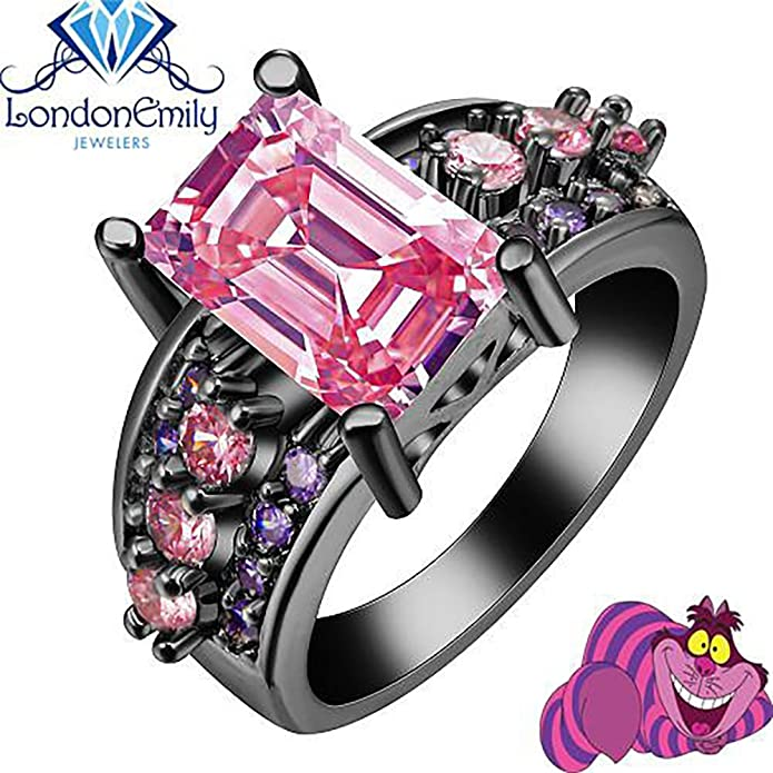 CHESHIRE CAT we/'re All mad here Alice in Wonderland RING silver adjustable gift