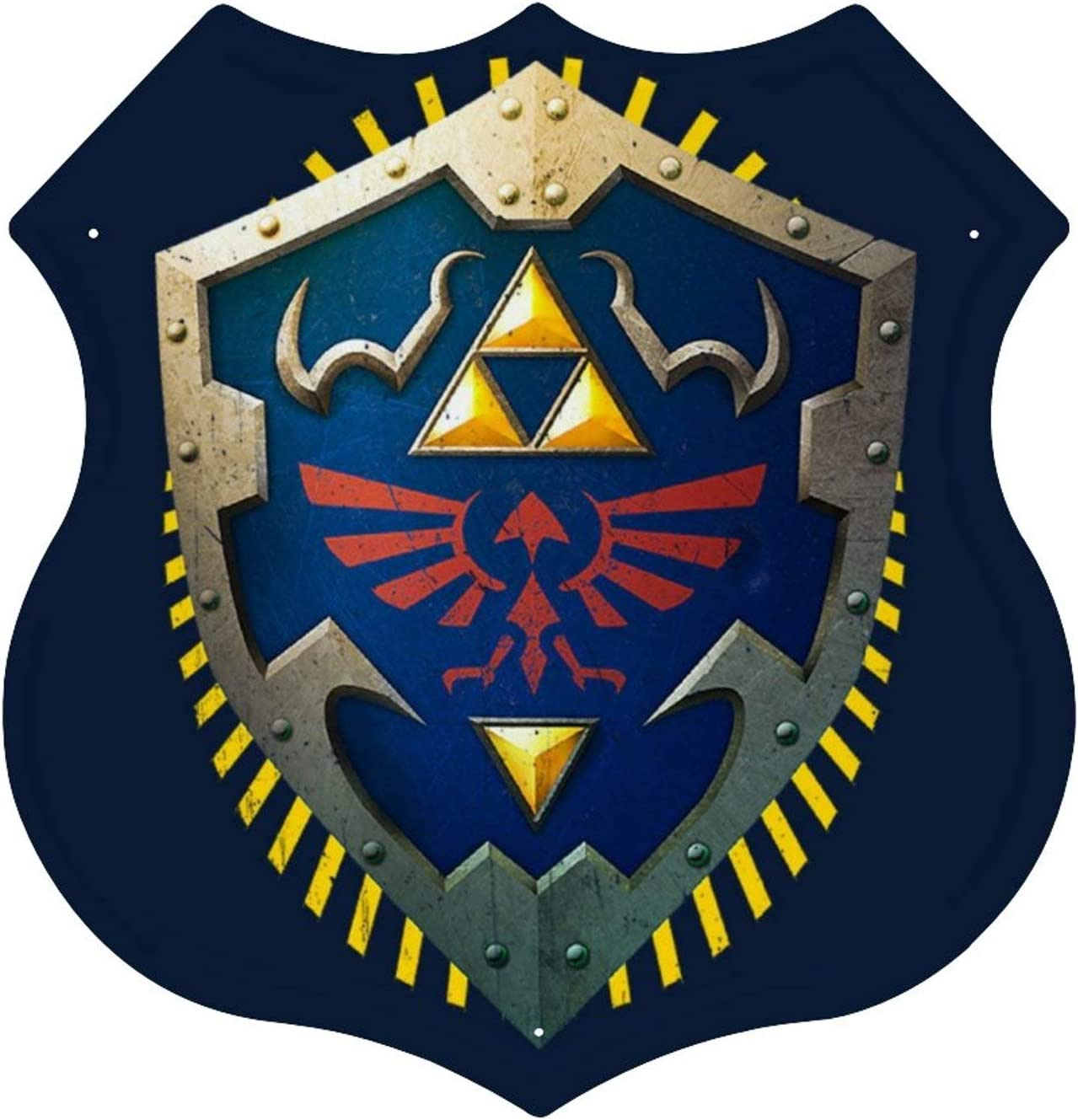 Hylian Shield Legend Of Zelda Triforce Tin Sign Metal Plate (Shield Shape) Personalized Metal Sign Art Metal Hanging Painting 12 x 12 inches