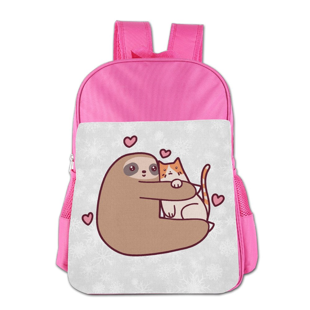 Boys Girls Sloth Loves Cat Backpack School Bag (2 Color:Pink Blue) Pink by MUJAND (Image #1)