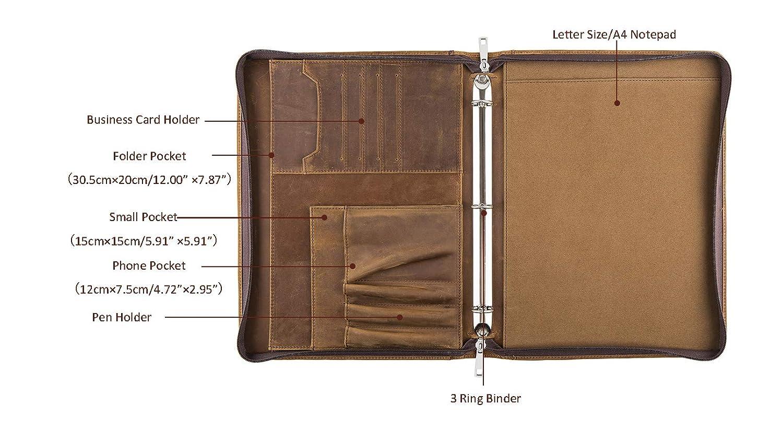 Cohokori fatto a mano in vera pelle A4/portadocumenti con cerniera con raccoglitore ad anelli vintage lavoro portafoglio di pelle cartella per uomo marrone Non-Custom 4-Ring
